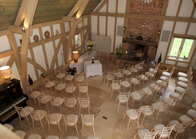Set up for ceremony in barn